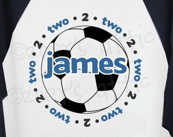Soccer birthday shirt - adorable soccer themed personalized raglan birthday shirt for any age