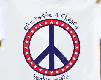 Childrens give peace a chance patriotic kids personalized Tshirt