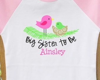 Big Sister To Be shirt- Birdie FRONT only raglan big sister t-shirt