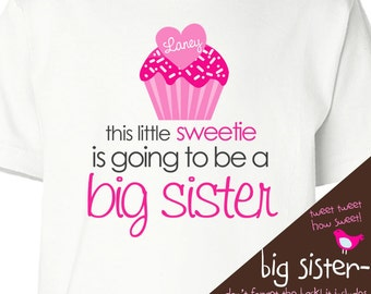 Big sister Valentine's Day pregnancy announcement little sweetie cupcake FRONT/BACK t-shirt