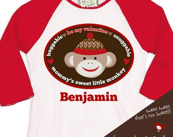 personalized boys valentine's day shirt be my valentine mommy's little (sock) monkey 3/4 RAGLAN