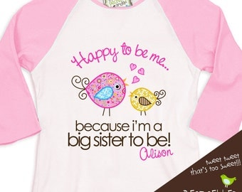 Big sister to be whimsy bird pregnancy announcement pink/white raglan shirt