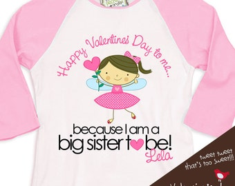 Valentine's Day fairy big sister or big sister to be 3/4 sleeve length pink/white raglan shirt