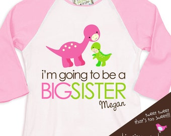 Big Sister shirt- dinosaur  - perfect pregnancy announcement for big sister to be  RAGLAN t-shirt