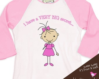 Big sister shirt - Stick figure secret i'm going to be a big sister pregnancy announcement t-shirt  RAGLAN shirt