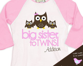 Big sister to twins owl pregnancy announcement pink/white raglan shirt