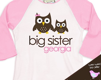 big sister shirt owl simple sweet  RAGLAN