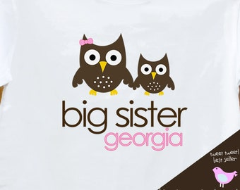 big sister tshirt owl simple sweet plain tshirt