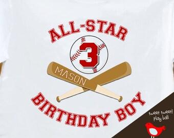 Birthday Boy shirt - ALL STAR baseball, sports themed birthday party plain t-shirt