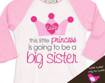 Big sister shirt-princess crown big sister to be pregnancy announcement