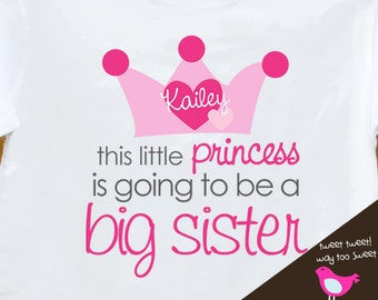 princess big sister to be - adorable big sister princess pregnancy announcement tshirt