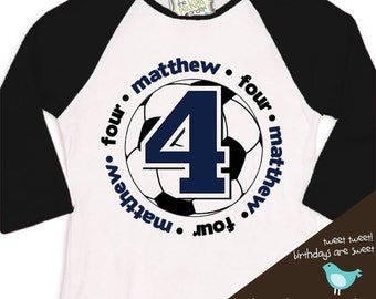 birthday boy tshirt soccer birthday party personalized birthday shirt  RAGLAN shirt