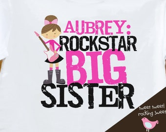 Big sister shirt - Personalized Rockstar Big Sister T shirt