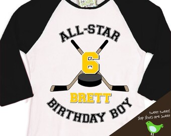 HOCKEY Birthday Boy shirt - ALL STAR hockey, sports themed birthday party  raglan t-shirt