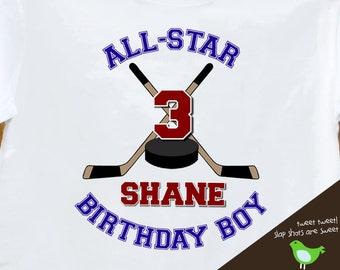 HOCKEY Birthday Boy shirt - ALL STAR hockey, sports themed birthday party plain t-shirt
