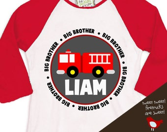 Firetruck Big Brother shirt - or big brother to be pregnancy announcement  raglan