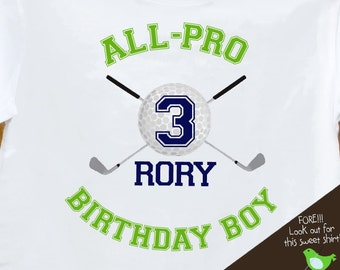 golf Birthday Boy shirt - ALL PRO golf  sports themed birthday party plain t-shirt