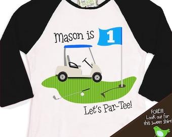 golf Birthday Boy shirt - PAR-TEE golf, sports themed birthday party  raglan t-shirt
