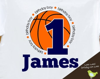 birthday boy basketball shirt - customized with birthday boys name and age and colos