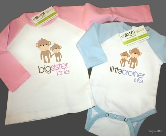personalized big sister little brother matching monkey sibling raglan long sleeve shirt set - TWO shirts
