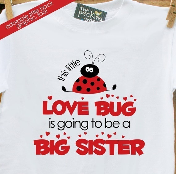 big sister to be shirt- sweet LADYBUG pregnancy announcement