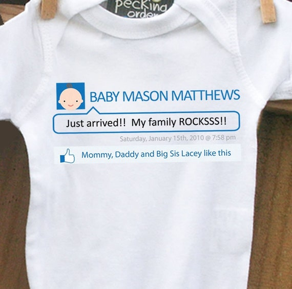 personalized bodysuit-New Facebook pregnancy announcement bodysuit- what a great status update on your new arrival