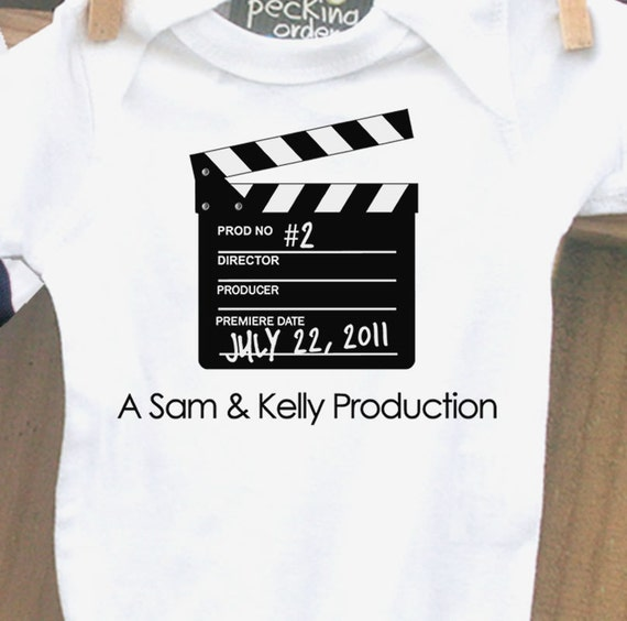 personalized bodysuit-birth announcement, clapboard collection, completely customizable