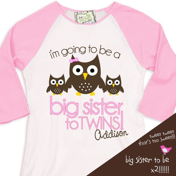 big sister shirt- big sister to be TWINS owl adorable pregnancy announcement  RAGLAN t-shirt