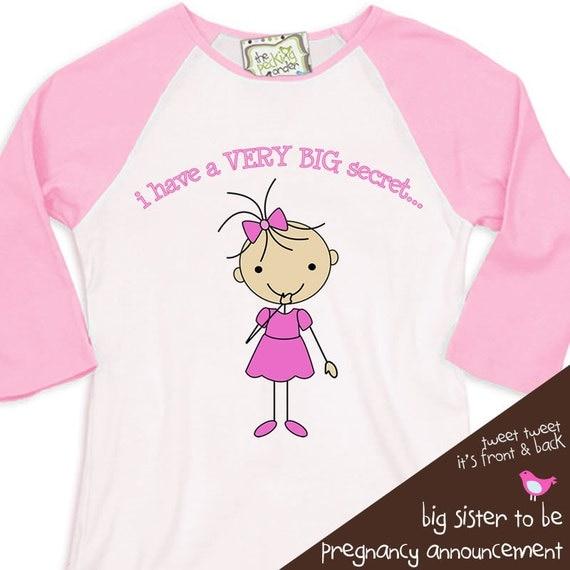 Big sister shirt - Stick figure secret i'm going to be a big sister pregnancy announcement t-shirt  RAGLAN shirt