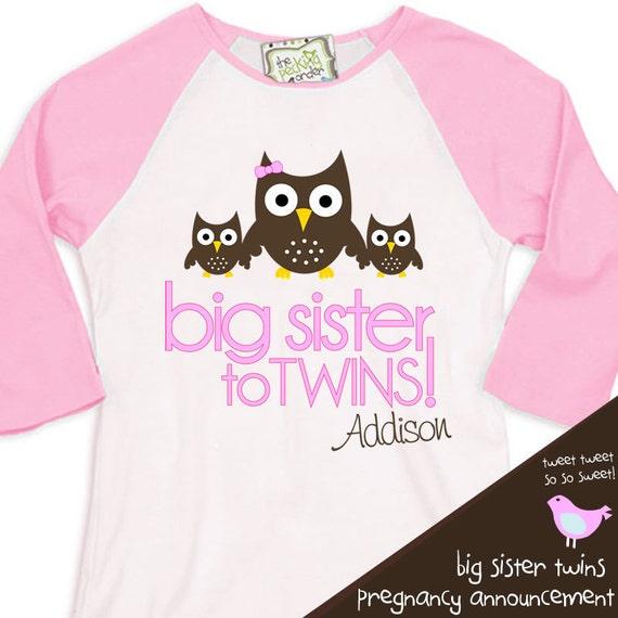 Big sister to twins owl pregnancy announcement pink/white raglan shirt