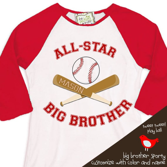 big brother shirt - baseball all-star big brother on sport  raglan shirt