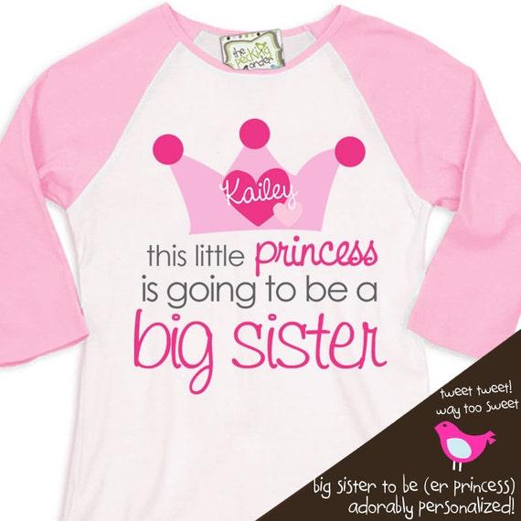 Big sister shirt-princess crown big sister to be pregnancy announcement