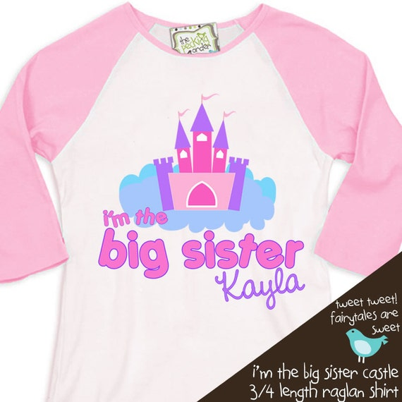 Big sister shirt - personalized castle fairytale  pink white raglan tshirt for big sister
