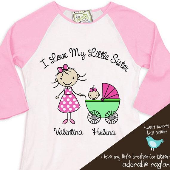 Big Sister shirt - I Love my little sister raglan t-shirt- for the big sister to be, even