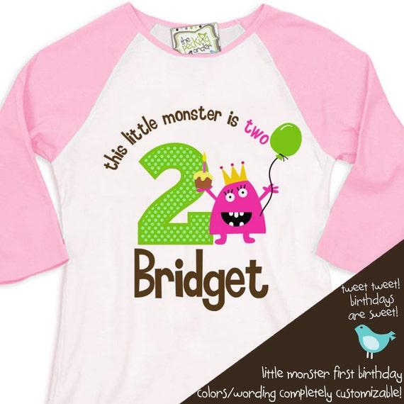 monster birthday girl shirt theme party tshirt this little monster  RAGLAN