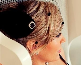 Black Chenille Dot Birdcage veil - Bridal/Pinup/Retro/Boudoir - Many looks in one veil