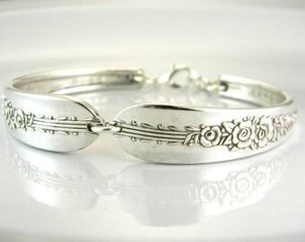 Spoon Bracelet, Silver Spoon Bracelet, Spoon Jewelry, Silverware Bracelet, Bridesmaid Bracelet, Gift For Woman - 1939 ROYAL ROSE