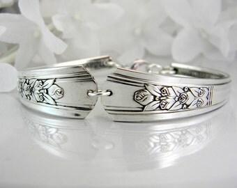 Spoon Bracelet, Spoon Jewelry, Silverware Bracelet, Silverware Jewelry, Bridesmaid Bracelet, Victorian Wedding - 1938 ROSALIE