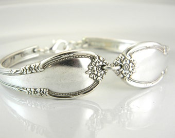 Spoon Bracelet, FREE ENGRAVING, Spoon Jewelry, Silverware Bracelet, Silver Spoon Bracelet, Bridesmaid Bracelet - 1948 REMEMBRANCE