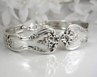 Spoon Bracelet, Spoon Jewelry, Silverware Bracelet, Silverware Jewelry, Bridesmaids Bracelet - 1951 MAGNOLIA