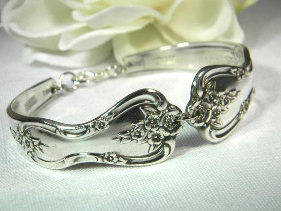 1951 MAGNOLIA Spoon Bracelet - Handmade Silver Bracelet - Upcycled Vintage Silverplate Silverware Jewelry