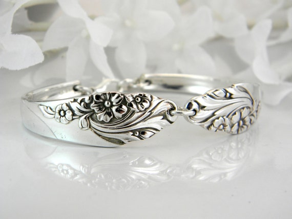 Spoon Bracelet, PERSONALIZED Spoon Bracelet, Spoon Jewelry, Silverware Jewelry, FREE ENGRAVING, Bridesmaids Bracelet - 1950 Evening Star