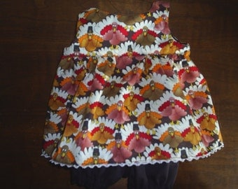 Doll Clothes Whimsical Turkey Thanksgiving 2 pc Dress fits 18 to 20 inch Build a Bear Hello Kitty or