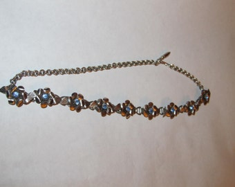 Necklace with Blue stones in Silver Vintage