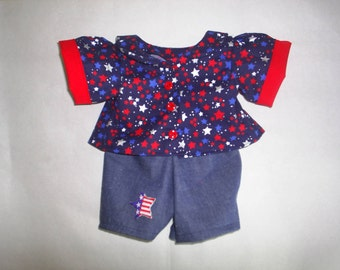 Pants Shirt Doll Clothes 4th of July fits BAB or H K HandMade Bear Clothes