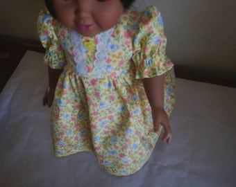 Dress & StrawHat fits American Girl Doll fits Gotz dolls Clothes HandMade
