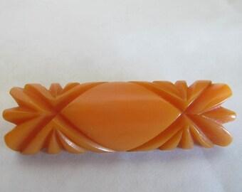Vintage Womens Celluloid ButterScotch Pin Brooch