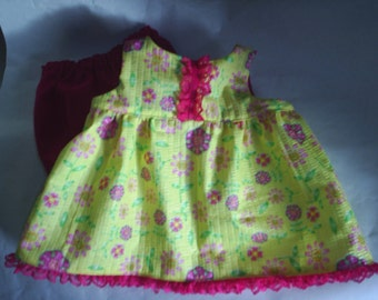 Dress fits B A B Bear Clothes Spring Dress and Bloomers fits H K HandMade