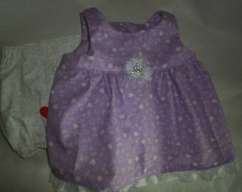 This 2 piece set Fits Build a Bear HandMade Doll Clothes and Lavendar Hearts Dress with Bloomers