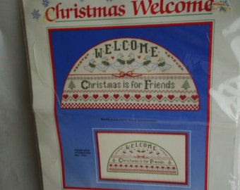 Christmas Counted Cross Stitch Welcome Friends Kit New
